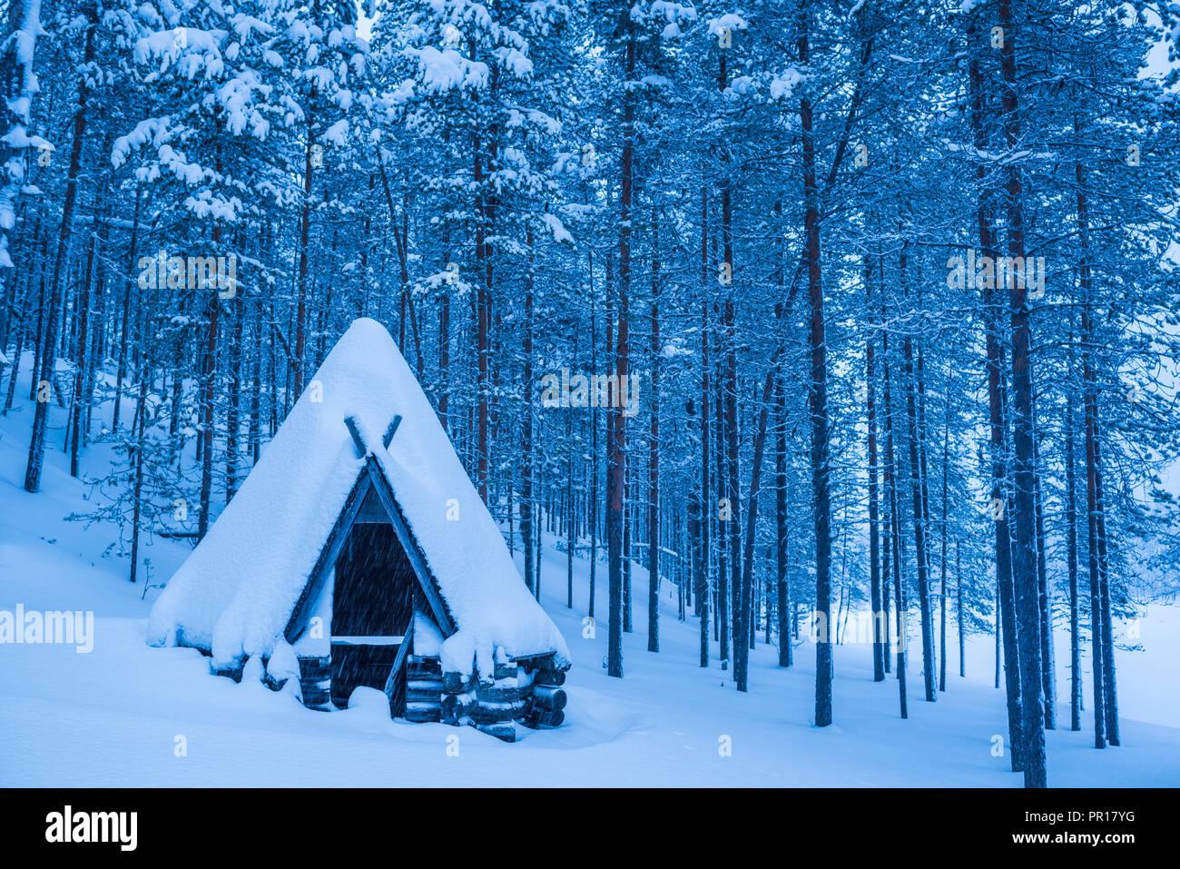 Kota, a traditional Lapland shelter, Pallas-Yllastunturi National Park, Lapland, Finland, Europe - Stock Image