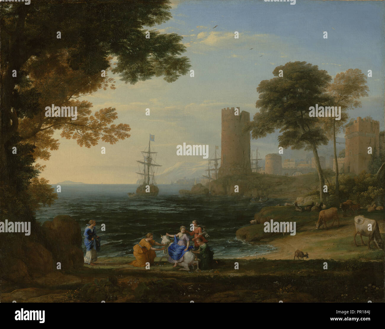 Coast View with the Abduction of Europa; Claude Lorrain, Claude Gellée, French, 1604 or 1605 ? - 1682, Rome, Italy; 1645 - Stock Image