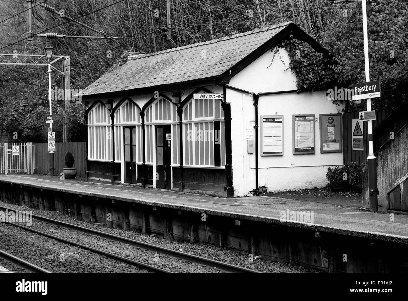Prestbury Railway Station. The old up line waiting room(s). - Stock Image