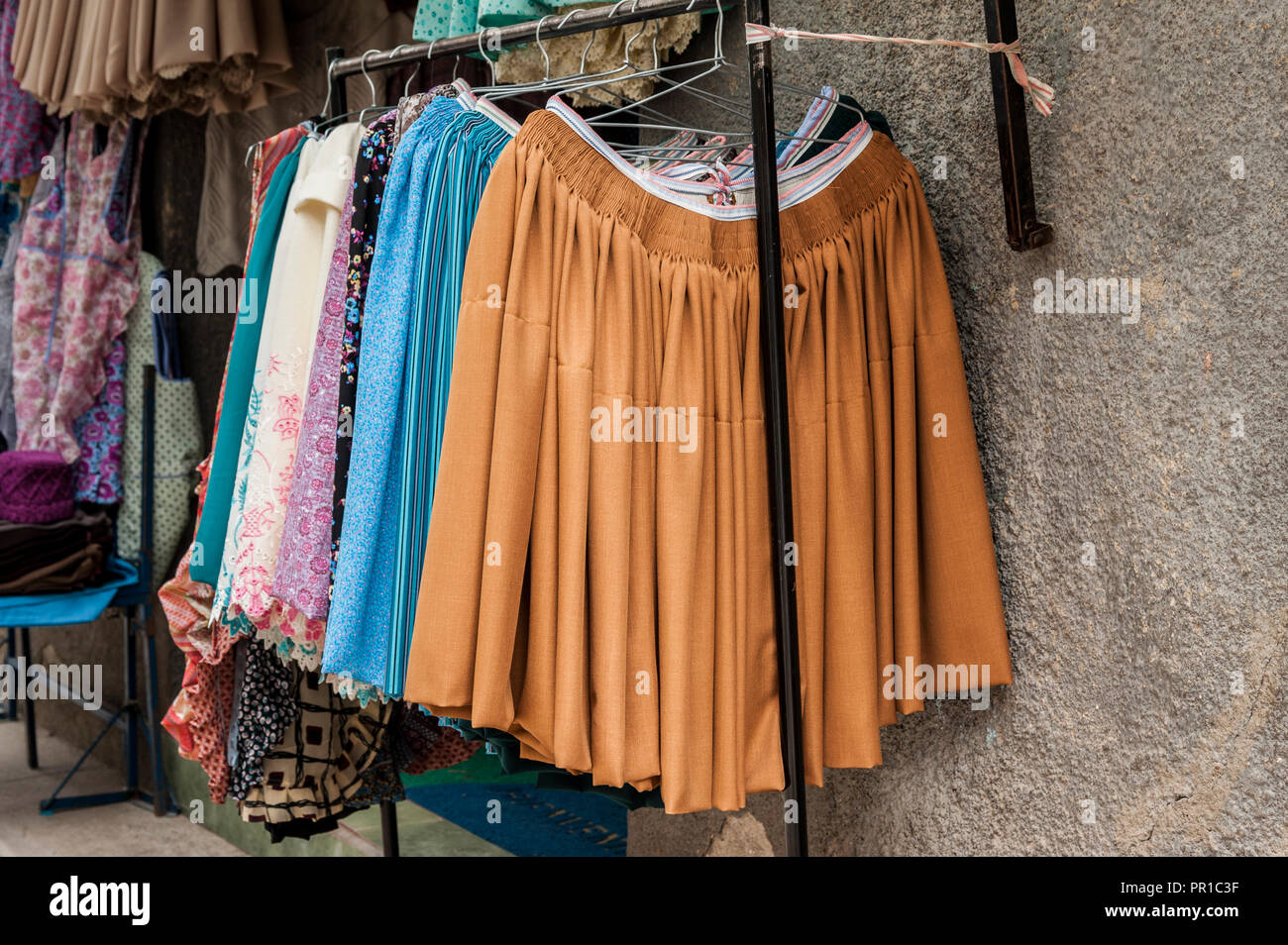 Typical bolivian skirts and local dresses, Copacabana - Bolivia - Stock Image