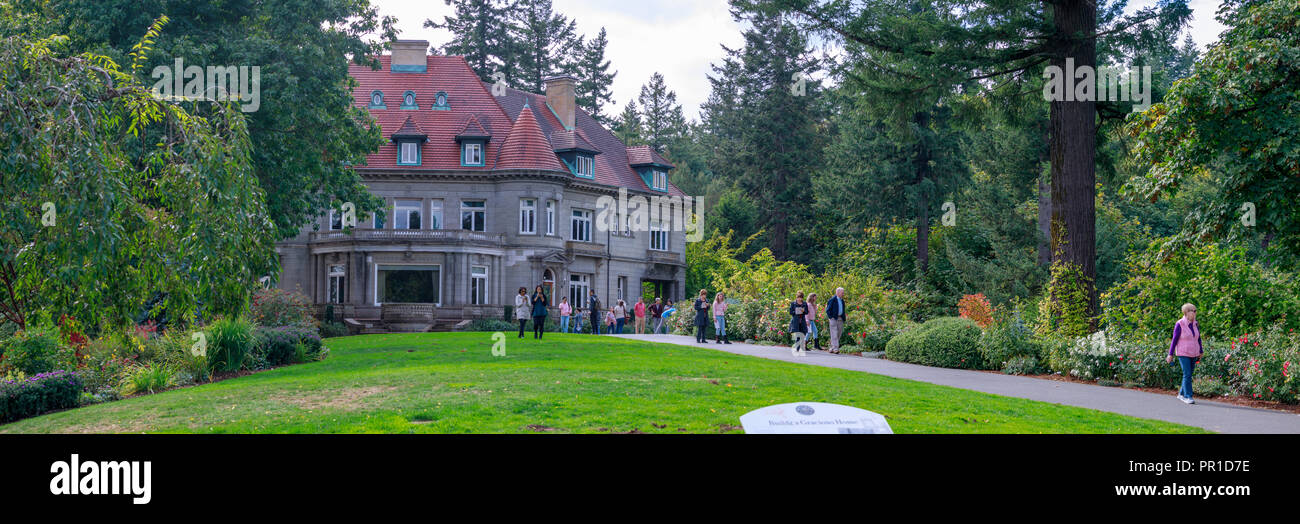 Portland, Oregon - Sep 24, 2018 : Pittock Mansion - French Renaissance-style chateau in the West Hills of Portland, Oregon, currently Museum - Stock Image