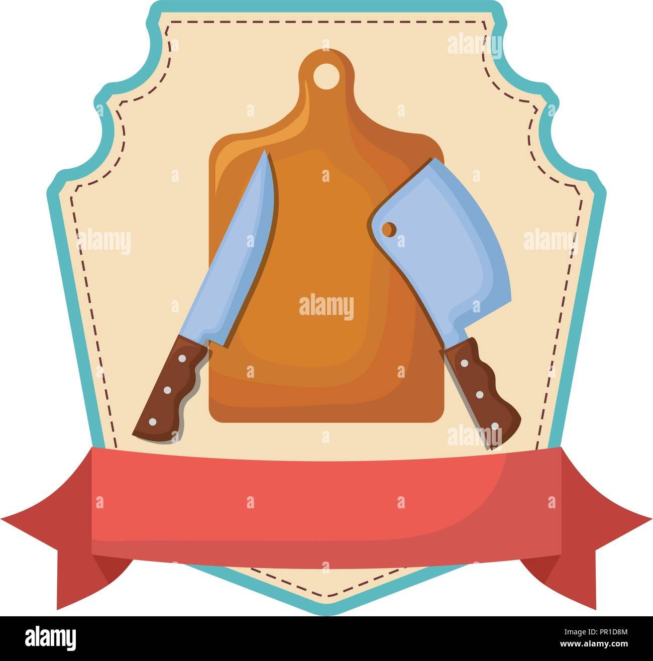 kitchen knifes and cutting board banner emblem vector illustration - Stock Image