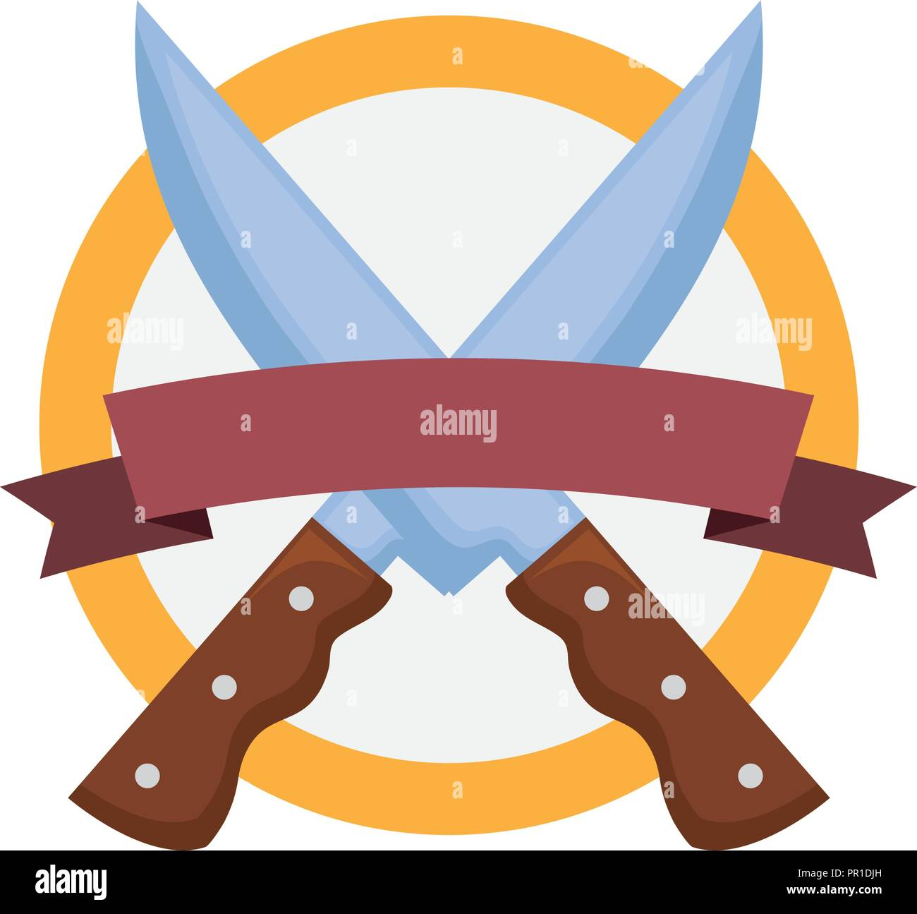 cook crossed knifes banner emblem vector illustration - Stock Image