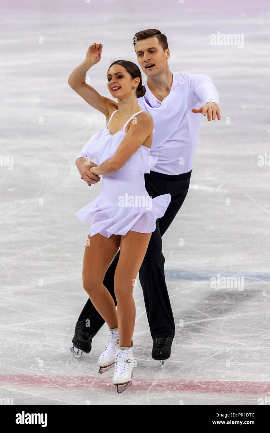 Natalja Sabijako and Alexander Enbert (OAR) during the Figure Skating Team competition at the Olympic Winter Games PyeongChang 2018 - Stock Image