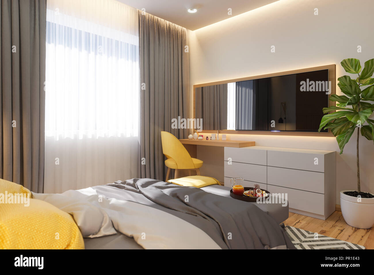 3d Illustration Bedroom Interior Design Concept Visualization Of The Interior In The Scandinavian Architectural Style Render In Warm Natural Color Stock Photo Alamy