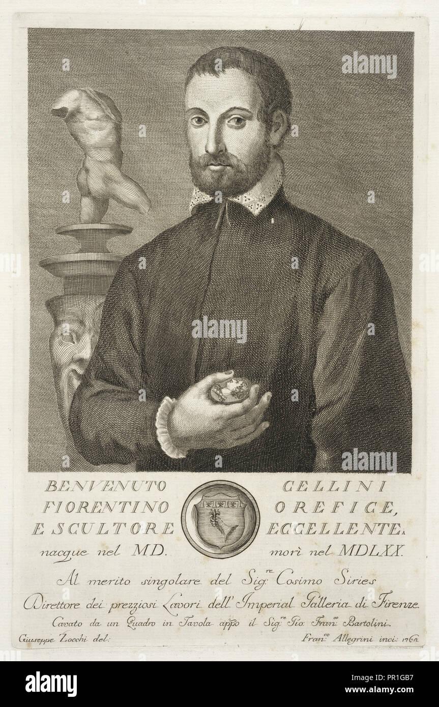 Benvenuto Cellini, Serie di ritratti d'uomini illustri toscani, con gli elogj istorici dei medesimi, Allegrini, Giuseppe, Zocchi - Stock Image