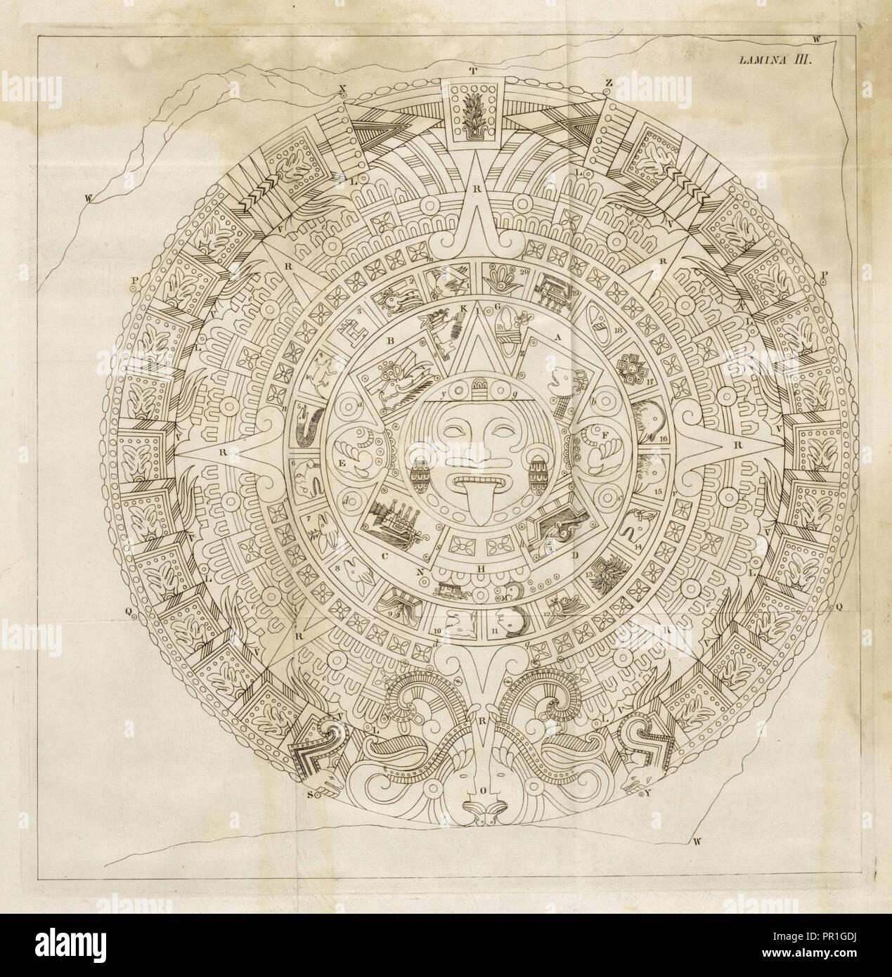 Plate 3, Descripción histórica y cronológica de las dos piedras que con ocasión del nuevo empedrado que se está formando - Stock Image
