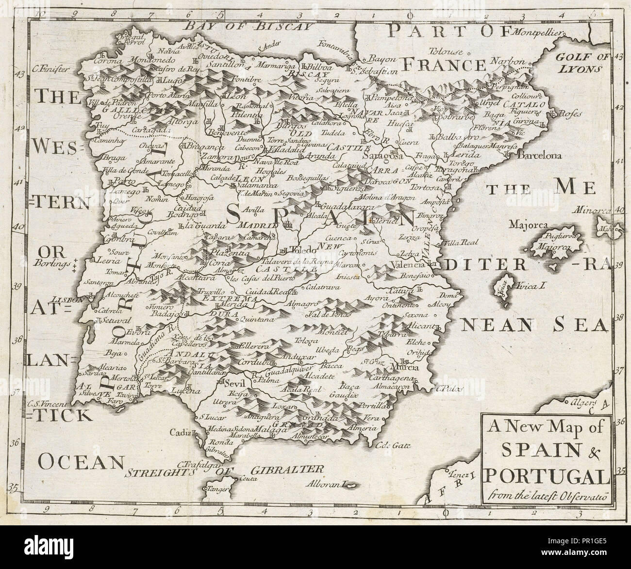 Map Of Spain Geography.A New Map Of Spain And Portugal From The Latest Observations