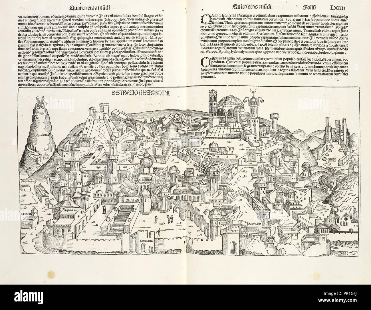 Destruccio Iherosolime, Registrum huius operis libri cronicarum cu, m, figuris et ymagi, nibus ab inicio mundi, Pleydenwurff - Stock Image