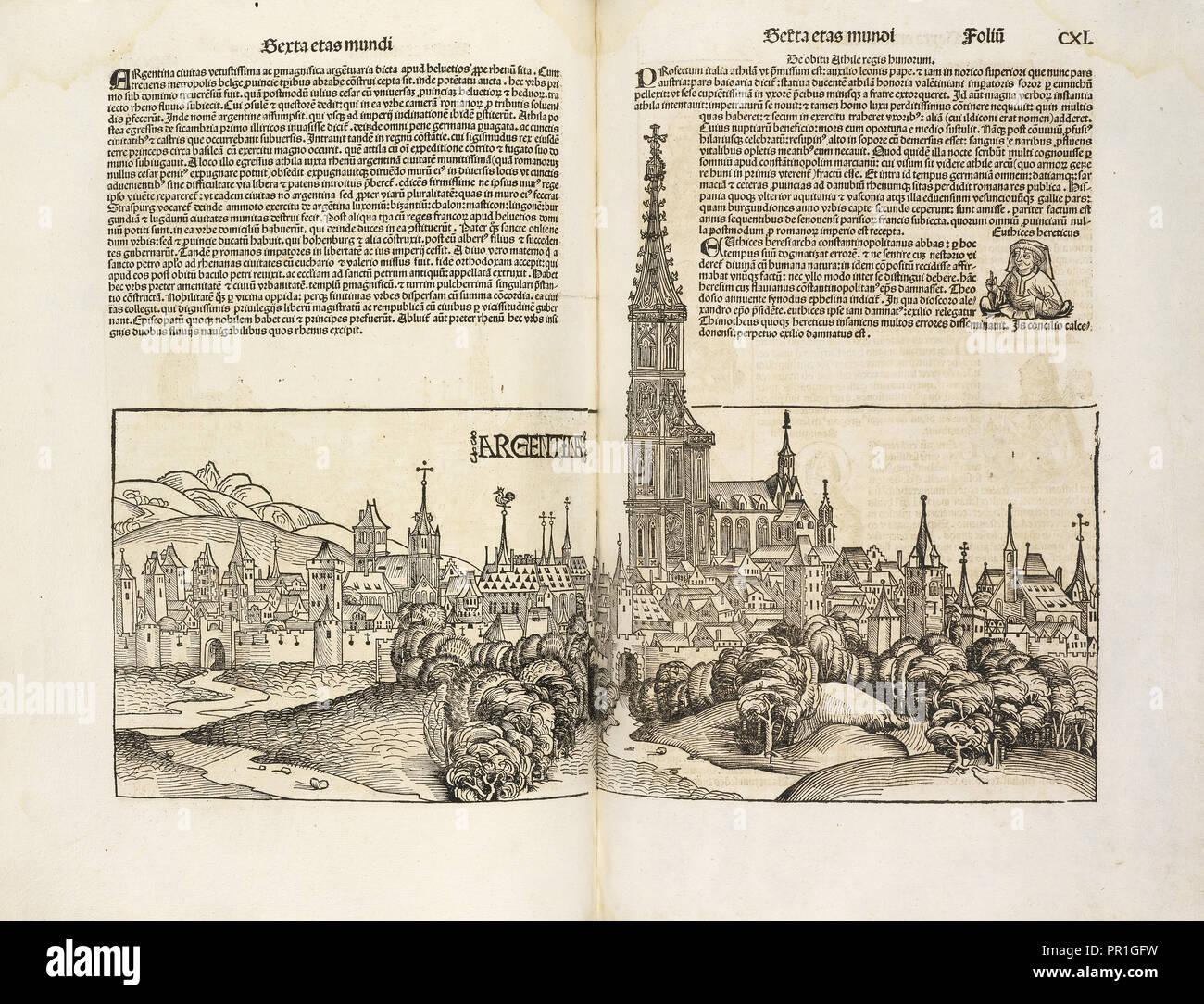 Argentina, Registrum huius operis libri cronicarum cu, m, figuris et ymagi, nibus ab inicio mundi, Pleydenwurff, Wilhelm, d - Stock Image
