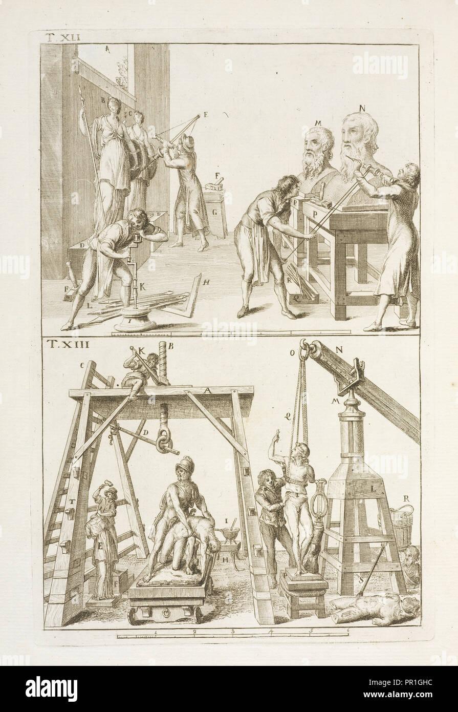 Con istrumenti e lume adattato a simile operazione; tavola XIII nella quale vien dimostrato alcune porzioni di sculture - Stock Image