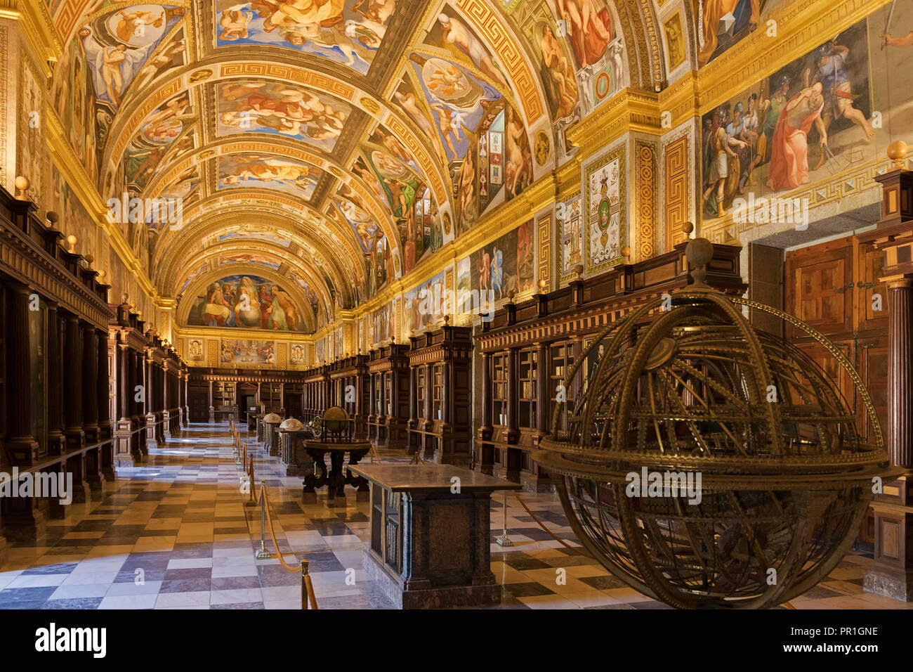 San Lorenzo de El Escorial, Madrid Province, Spain.  The Real Biblioteca, or Royal Library,  in the monastery of El Escorial.  The library was founded Stock Photo