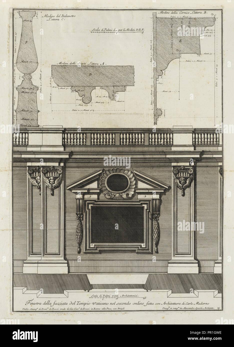 fatta con architettura di Carlo Maderno, Finestra della facciata del Tempio Vaticano nel secondo ordine, fatta con architettura Stock Photo