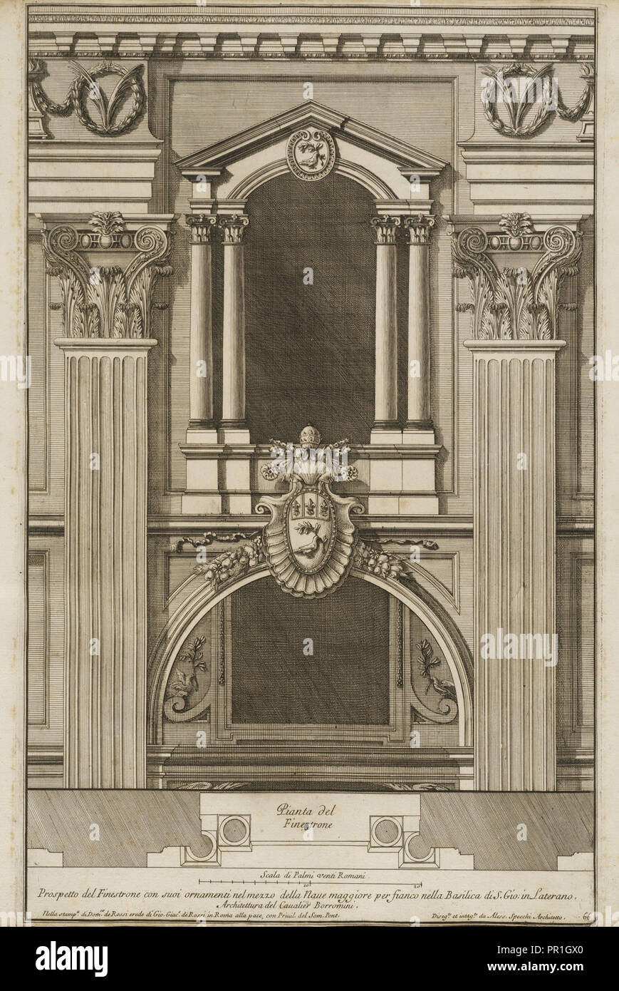 Prospetto del finestrone con suoi ornamenti nel mezzo della naue maggiore per fianco nella Basilica di S. Gio. in Laterano - Stock Image