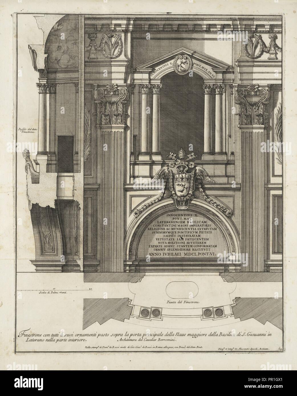Finestrone con tutti li suoi ornamenti posto sopra la porta principale della naue maggiore della Basilica di S. Giouanni - Stock Image