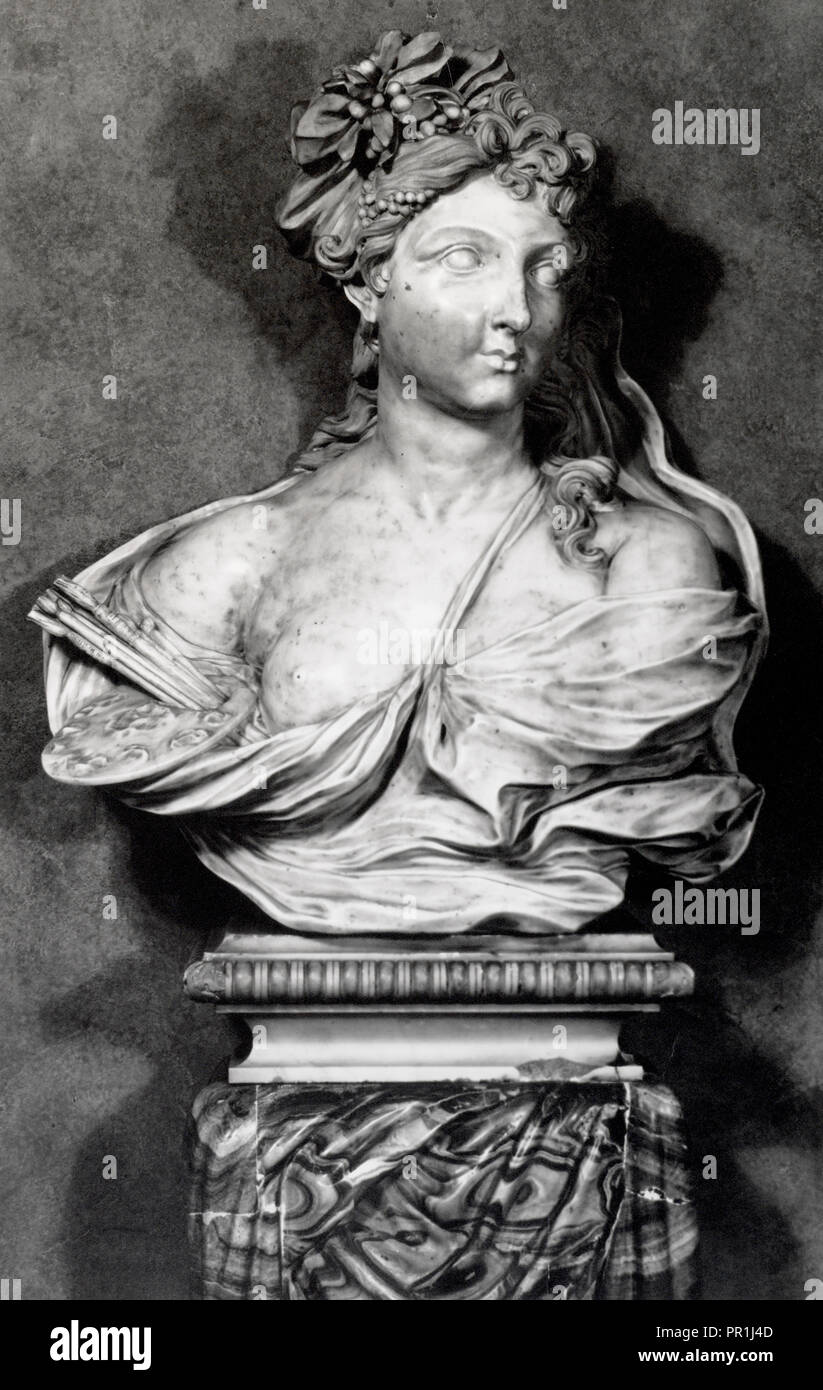17th century marble bust School of Bernini, The French and Company photographic archive of fine and decorative arts, Photograph - Stock Image