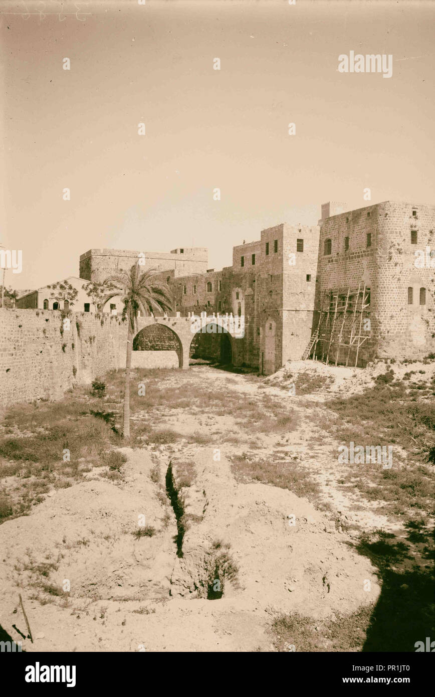Akka (Acre, Accho). The castle moat. On north side. 1920, Forts & fortifications, Moats, Acre is a city in the coastal plain - Stock Image