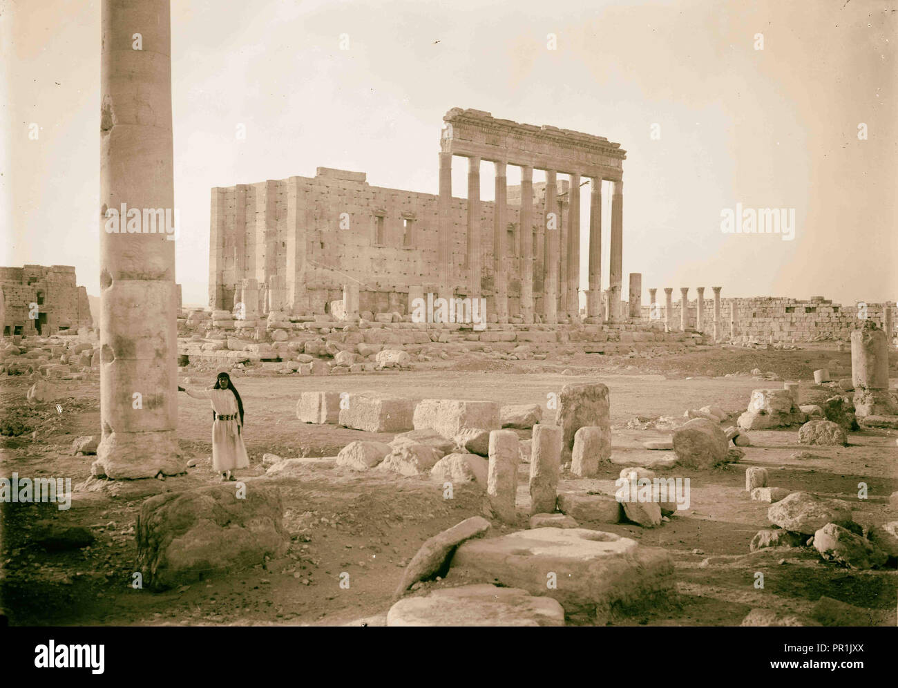Palmyra. Temple of Baal. Eastern fa ade showing columns of the peristyle. 1920, Syria, Tadmur - Stock Image