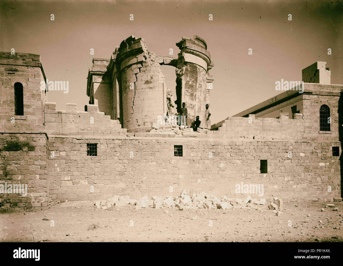 Palestine events. The earthquake of July 11, 1927. Shattered remains of St. John's Convent at the Jordan. A complete ruin. 1927 - Stock Image