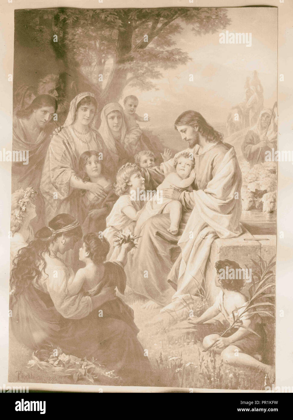 Copy of painting. 'Suffer the little children to come unto me. 1934, Middle East - Stock Image