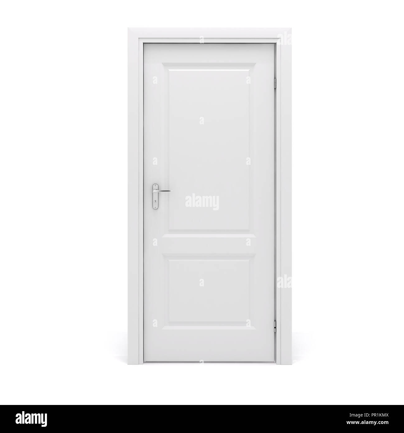3d white door on white background Stock Photo