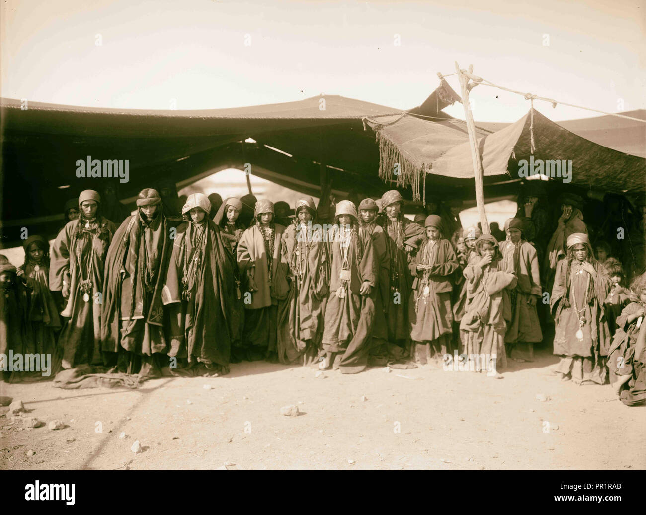 Group of young Bedouin women tent-dwellers in Moab of the Adwan tribe. 1898, Jordan - Stock Image