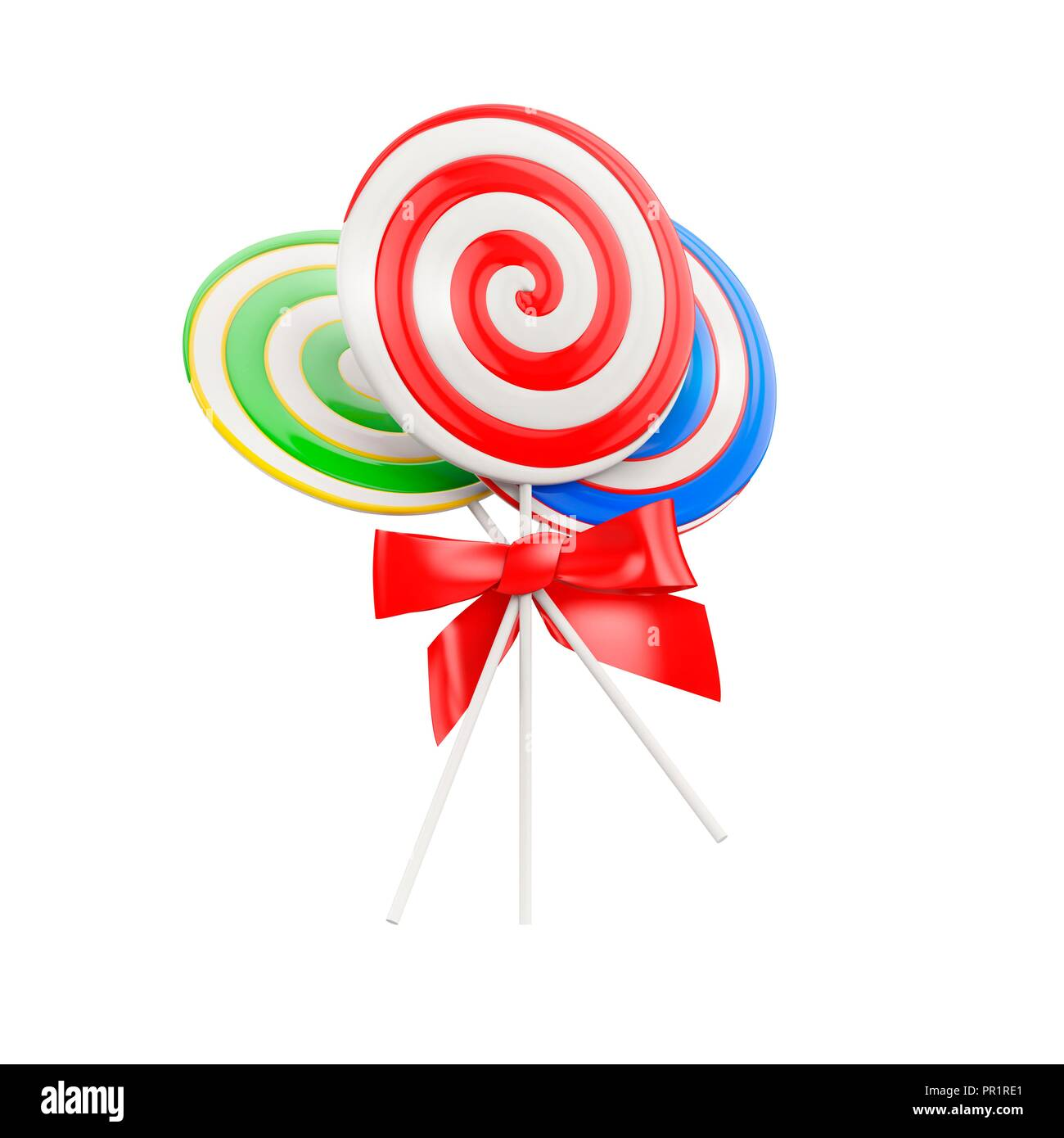 Lollipops with a red bow, illustration. Stock Photo