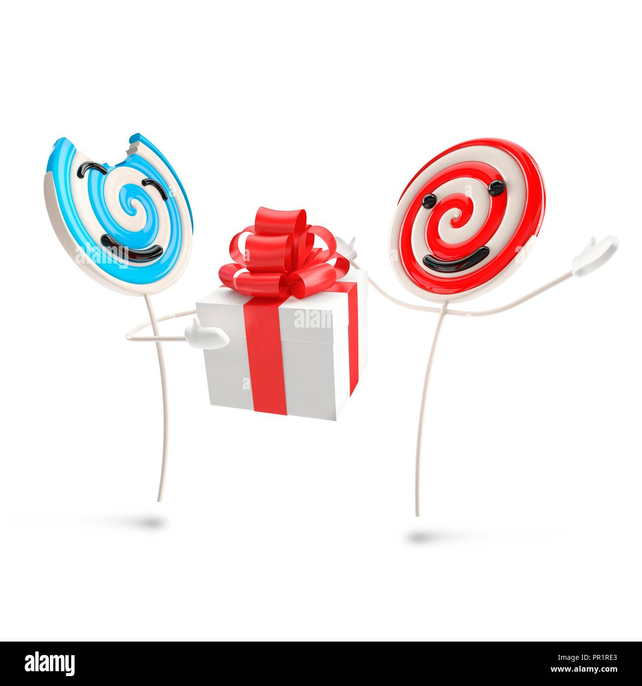 Lollipop person giving gift, illustration. Stock Photo