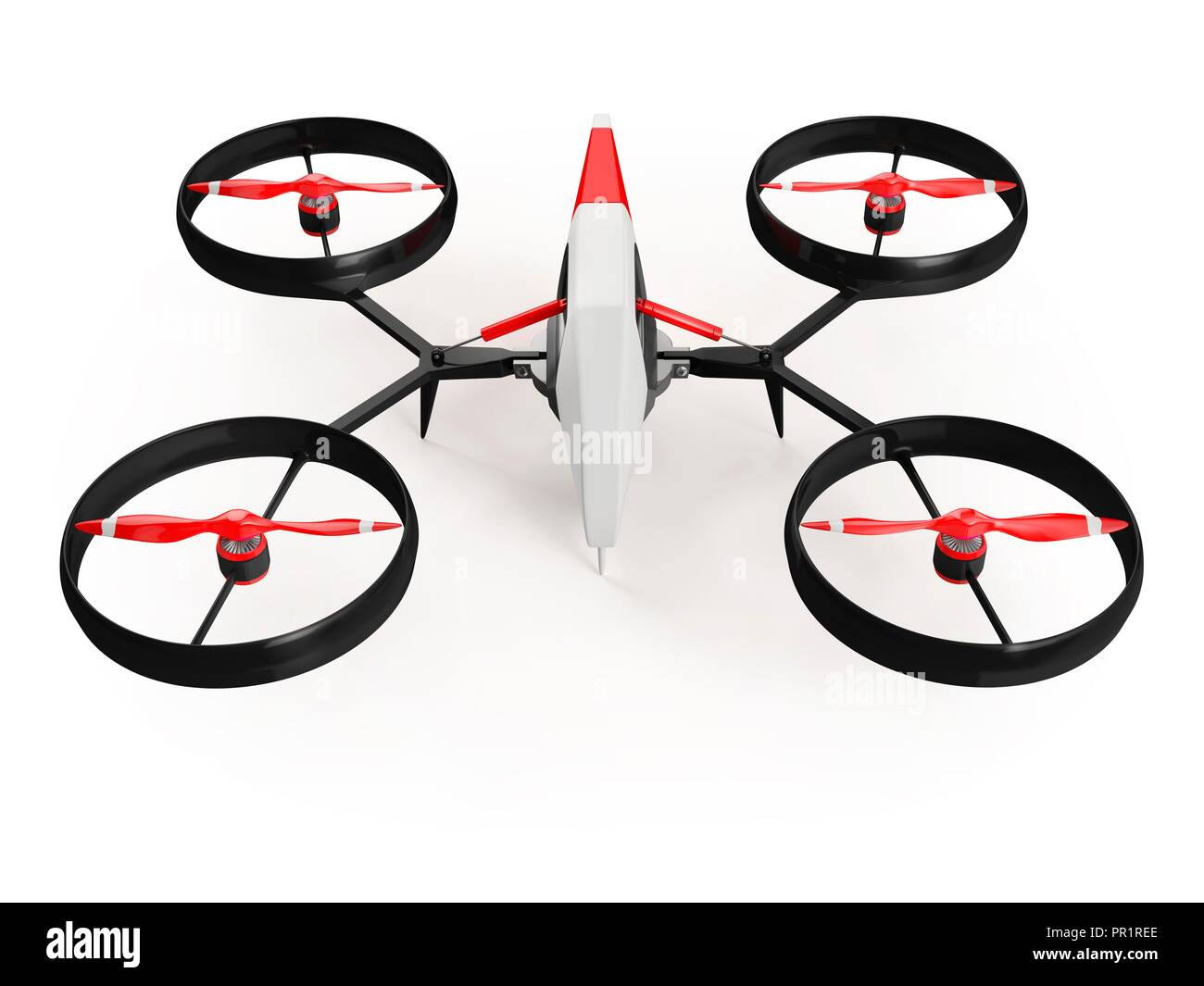 Quadcopter drone with red propeller, illustration. - Stock Image