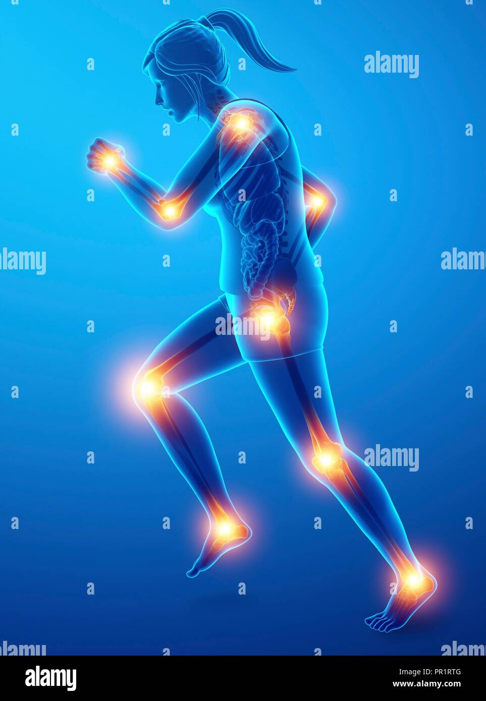 Woman with joint pain, computer illustration. - Stock Image