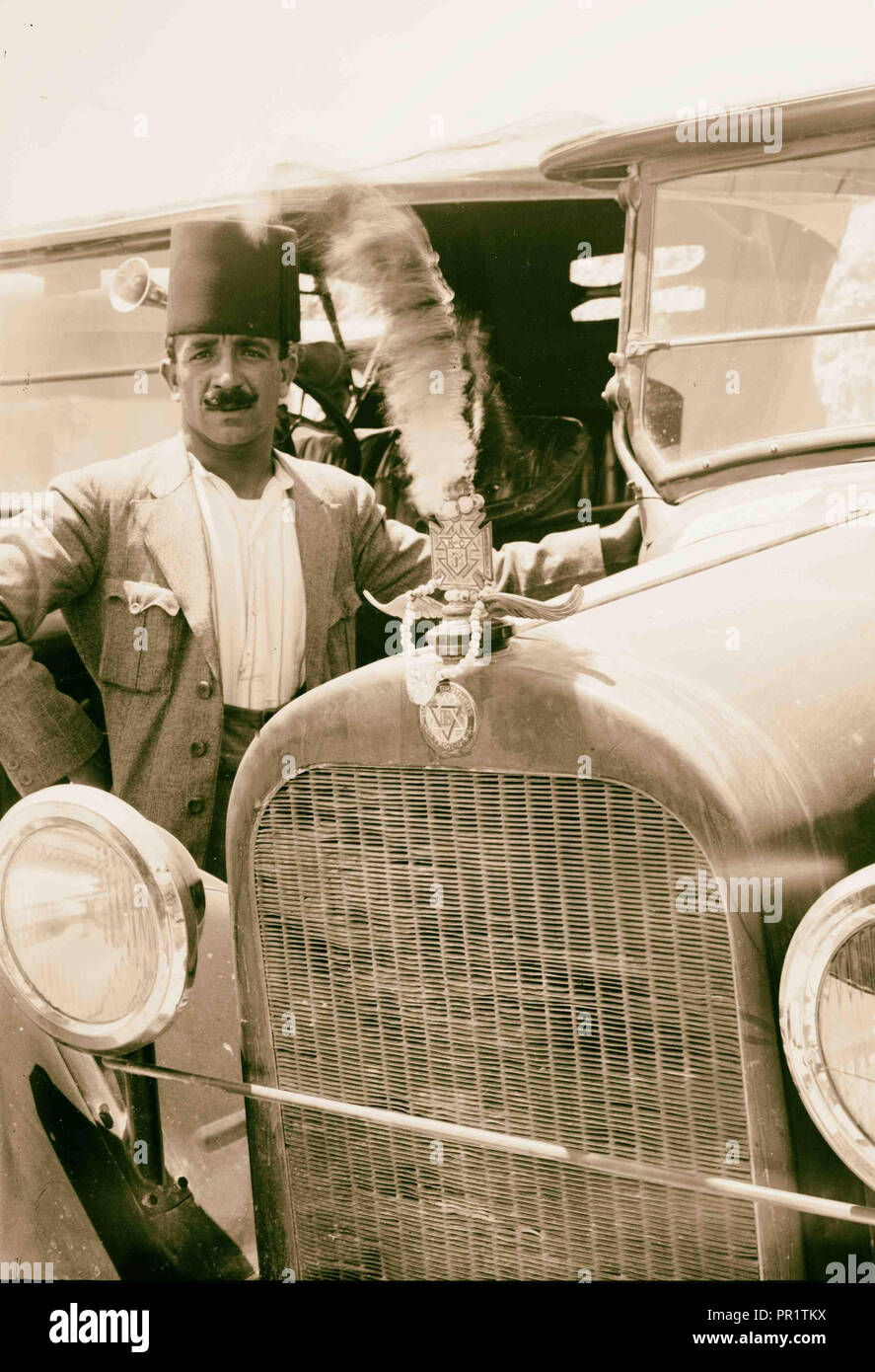 Arab posed beside new Dodge 1920, Middle East, Israel and/or Palestine - Stock Image