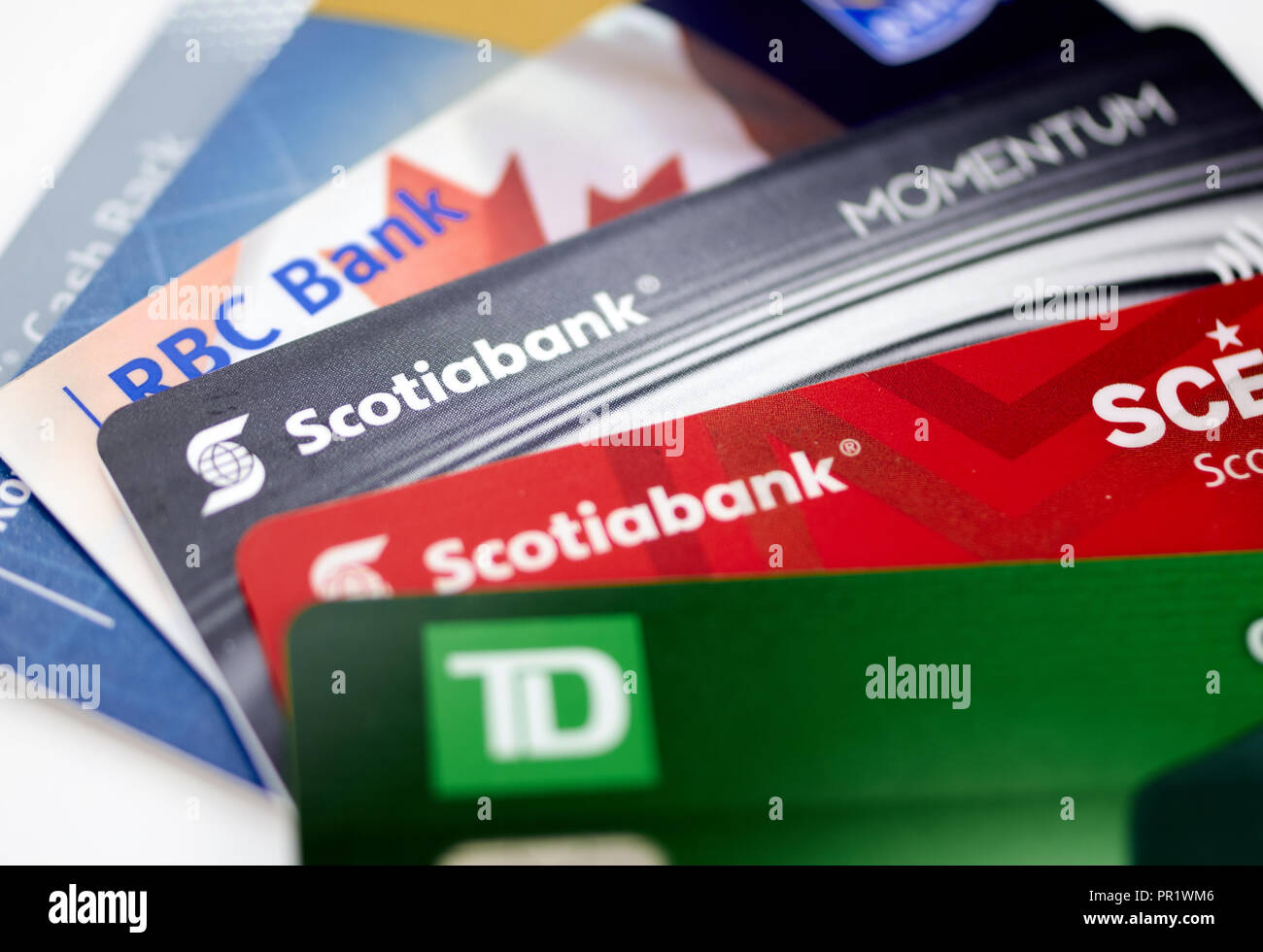 MONTREAL, CANADA - SEPTEMBER 21, 2018: Credit cards of