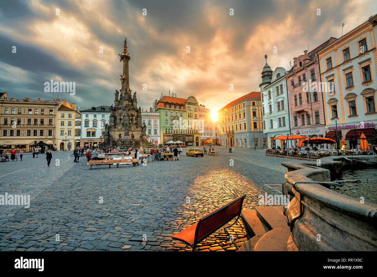 View of main square with monument Holy Trinity Column in historic town Olomouc. Czech Republic - Stock Image