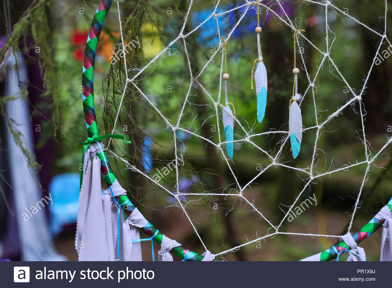 Dreamcatcher amid the trees. - Stock Image