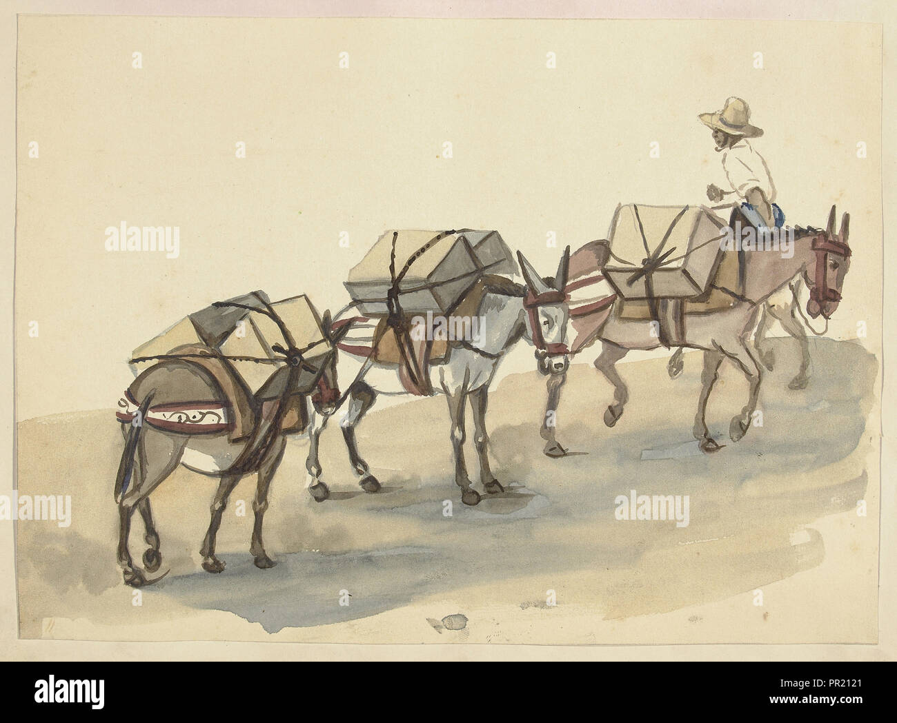 El Arriero, mules laden with cases of goods, led by a mulateer, Lima costumes, ca. 1853, Fierro, Pancho, 1803-1879, Smith - Stock Image