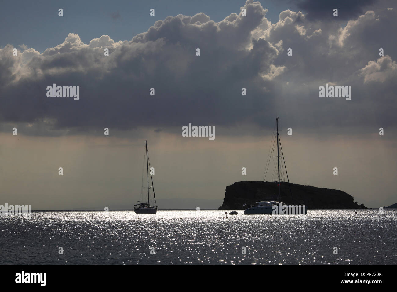 Attica Greece Sounion Beach Anchored Yachts at Sea - Stock Image