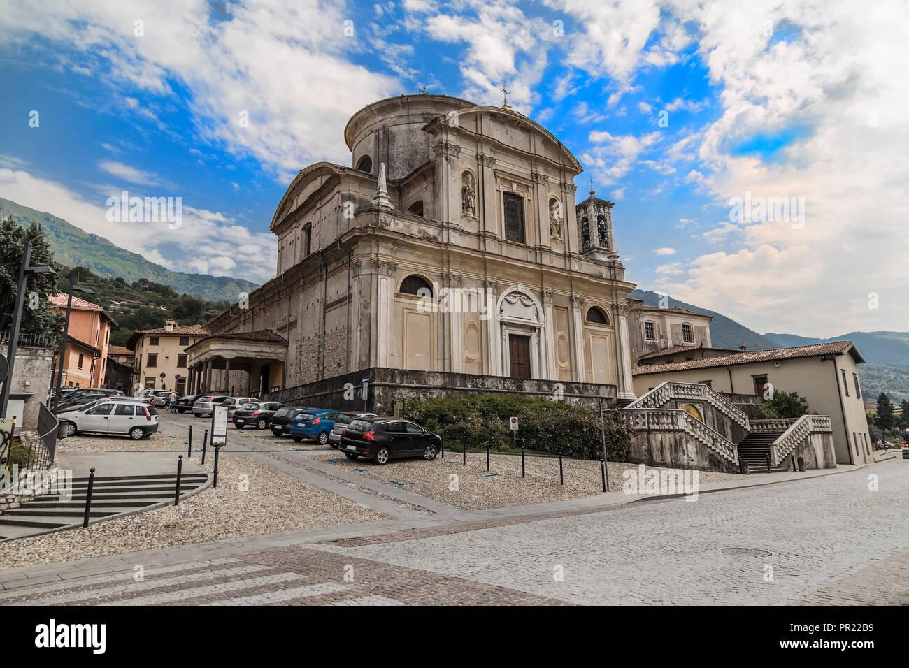 Former parish church of San Zenone in the municipality of Sale Marasino. Italy - Stock Image