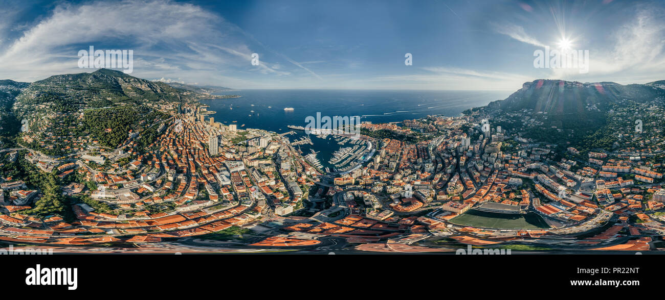 Mountains in Monaco Monte-Carlo city riviera Drone summer photo Air 360 vr virtual reality drone panorama - Stock Image