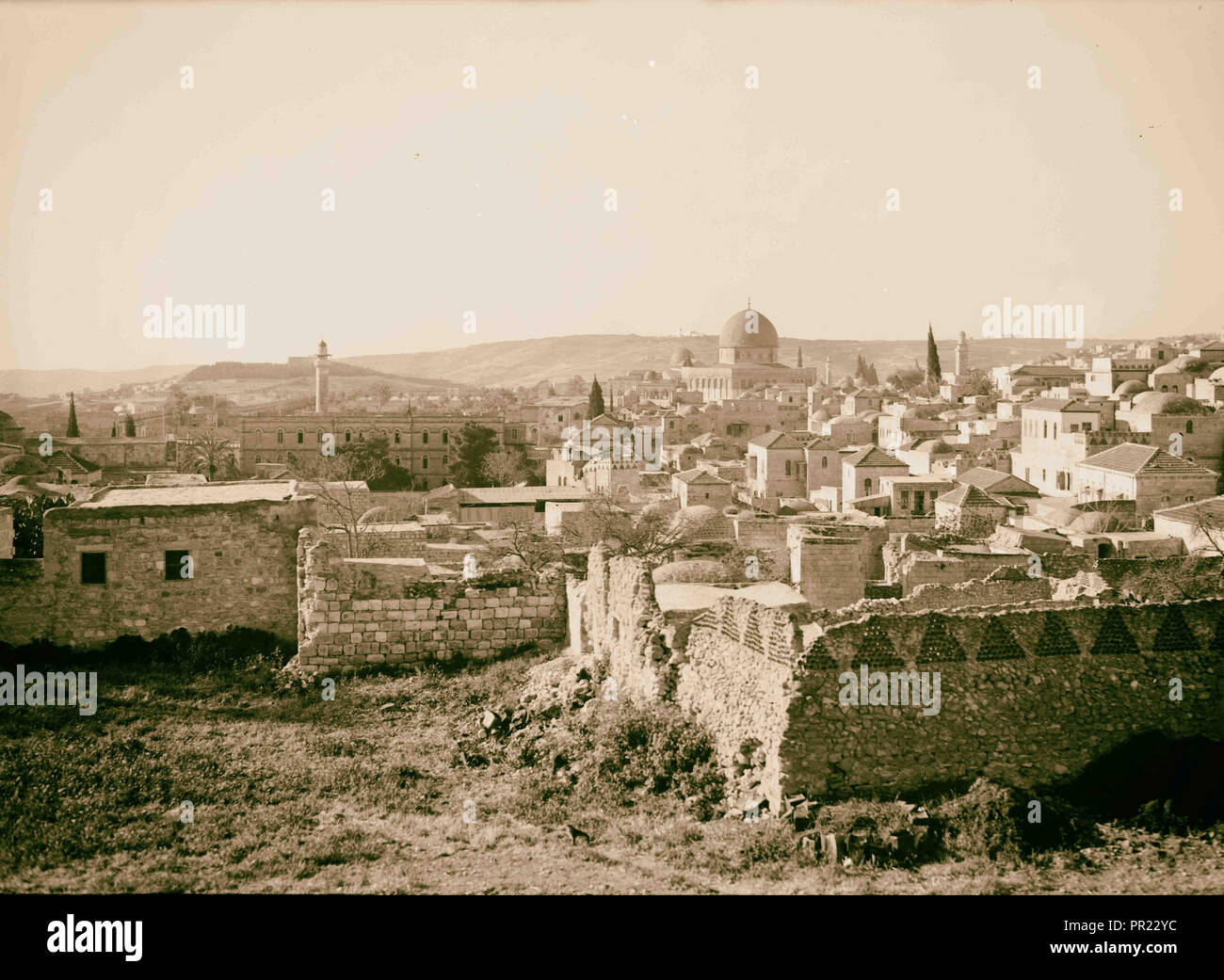 View of Jerusalem from the north city wall. Dome of the Rock prominent in centre of photo. 1934, Jerusalem, Israel - Stock Image