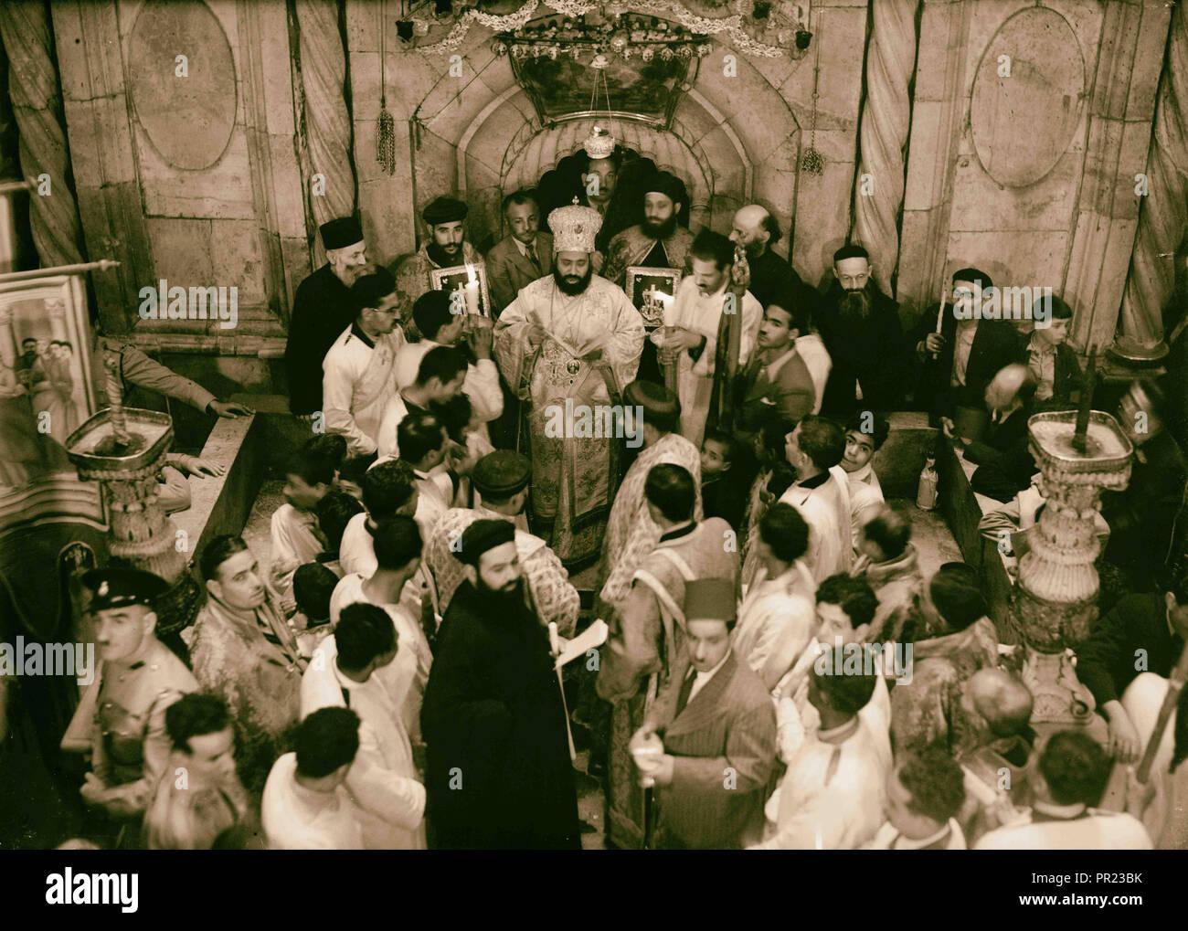Calendar of religious ceremonies in Jerusalem Easter period 1941 1941, Jerusalem, Israel - Stock Image