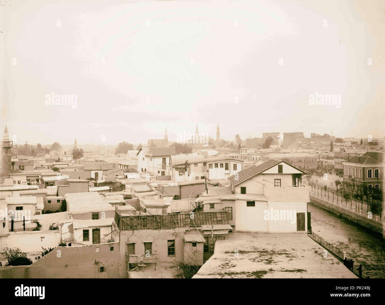 Damascus from Hotel Dimitri American Colony, Jerusalem. 1898, Syria, Damascus Stock Photo