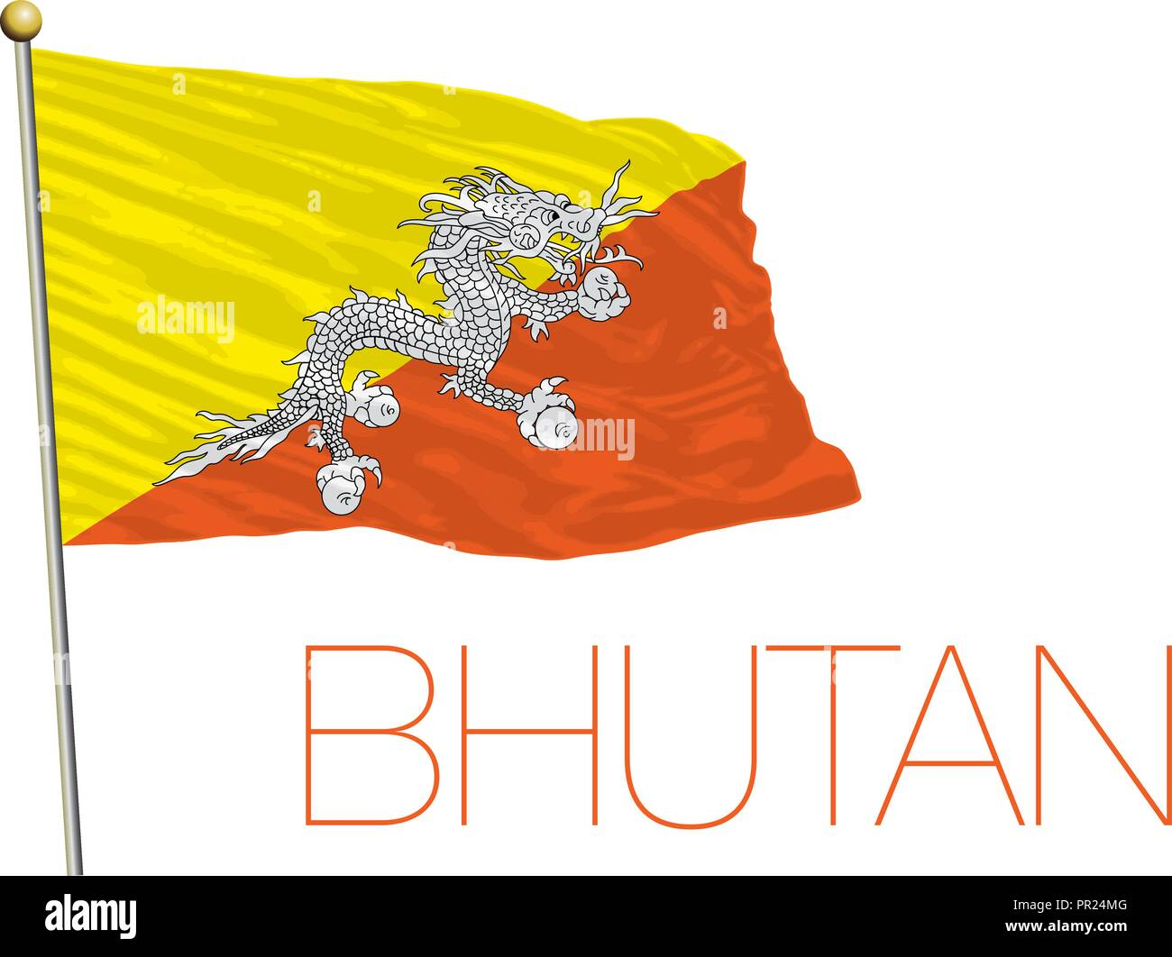 Buthan flag, vector illustration - Stock Vector