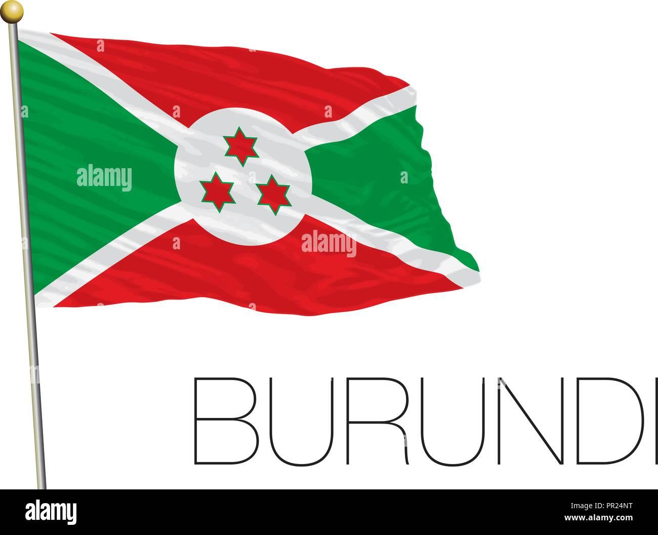 Burundi flag, vector illustration, africa - Stock Image