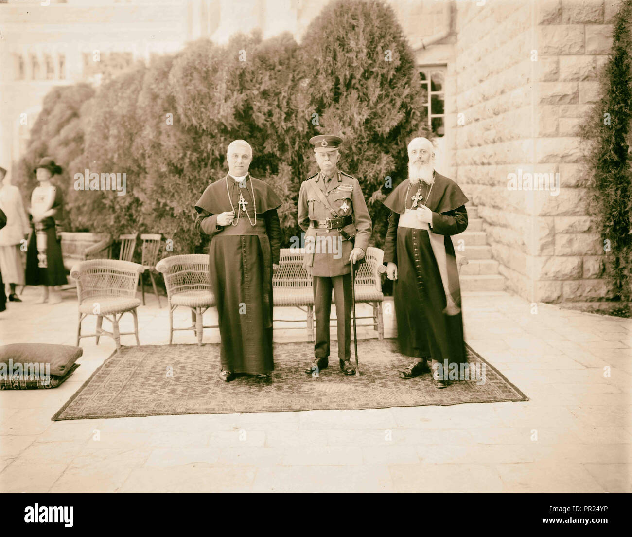 Lord Plumer with archbishop of Naples & Latin Patriarch Aug. 11, 1926. 1926, Jerusalem, Israel - Stock Image