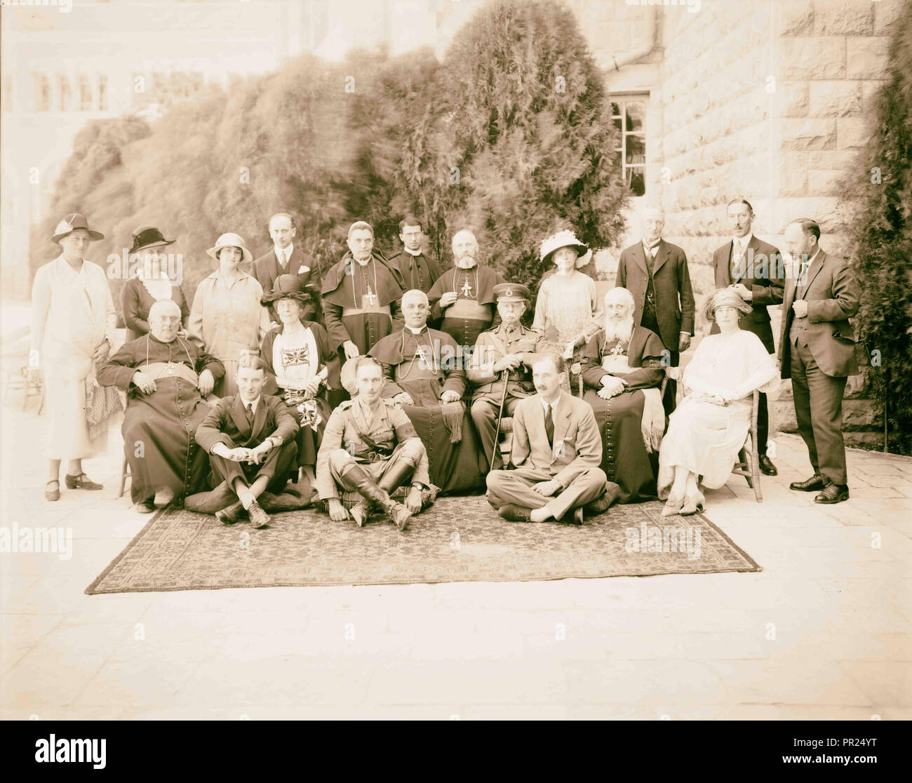 Lord Plumer with archbishop of Naples & Latin Patriarch, with larger group, Aug. 11, 1926. 1926, Jerusalem, Israel - Stock Image