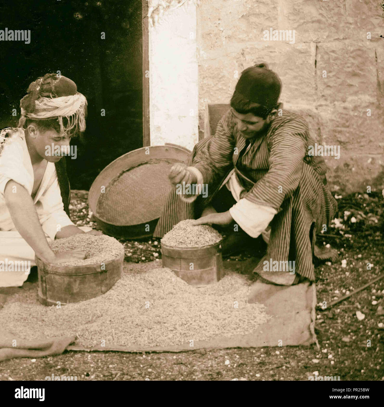 Costumes, characters and ceremonies, Measuring wheat. 1898, Middle East, Israel and/or Palestine - Stock Image