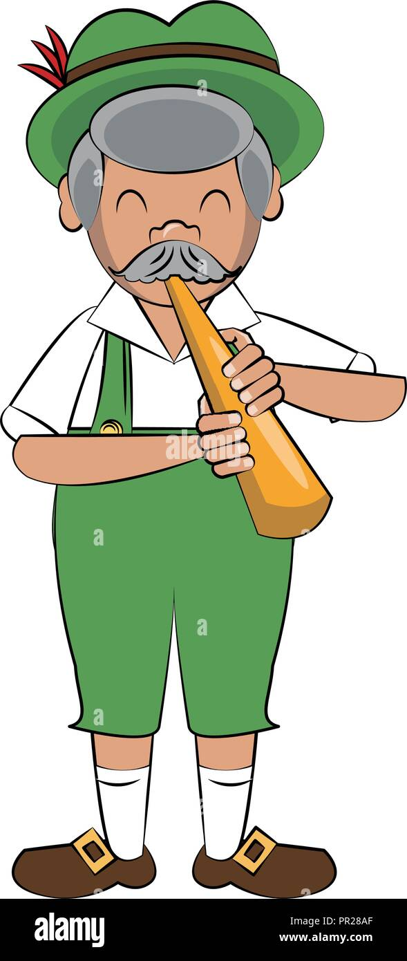 Bavarian man with horn instrument - Stock Image
