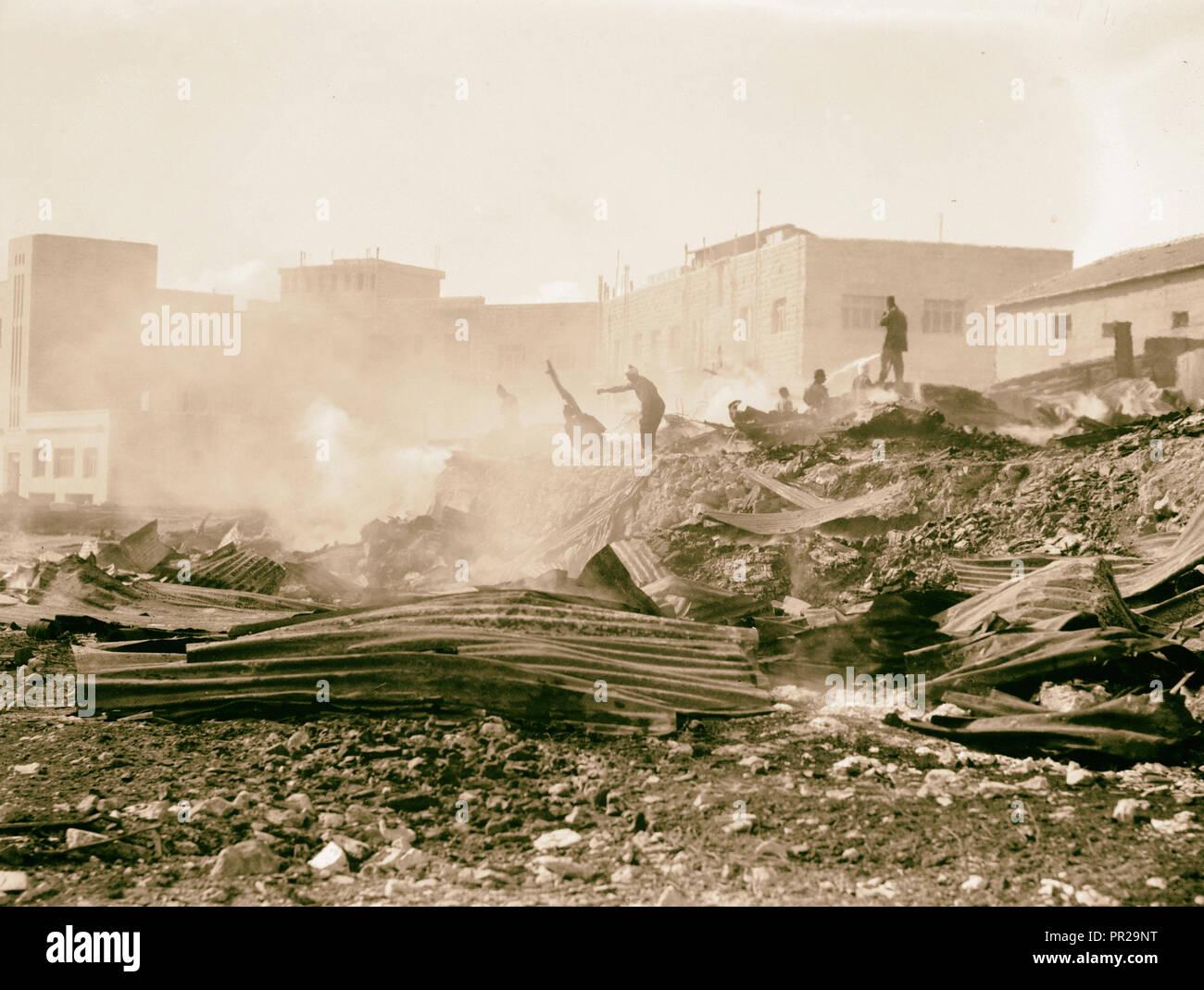 Palestine disturbances 1936. Incendiary of a Jewish lumber yard in the Shamma's Qt. [i.e., Quarter]. 1936 - Stock Image
