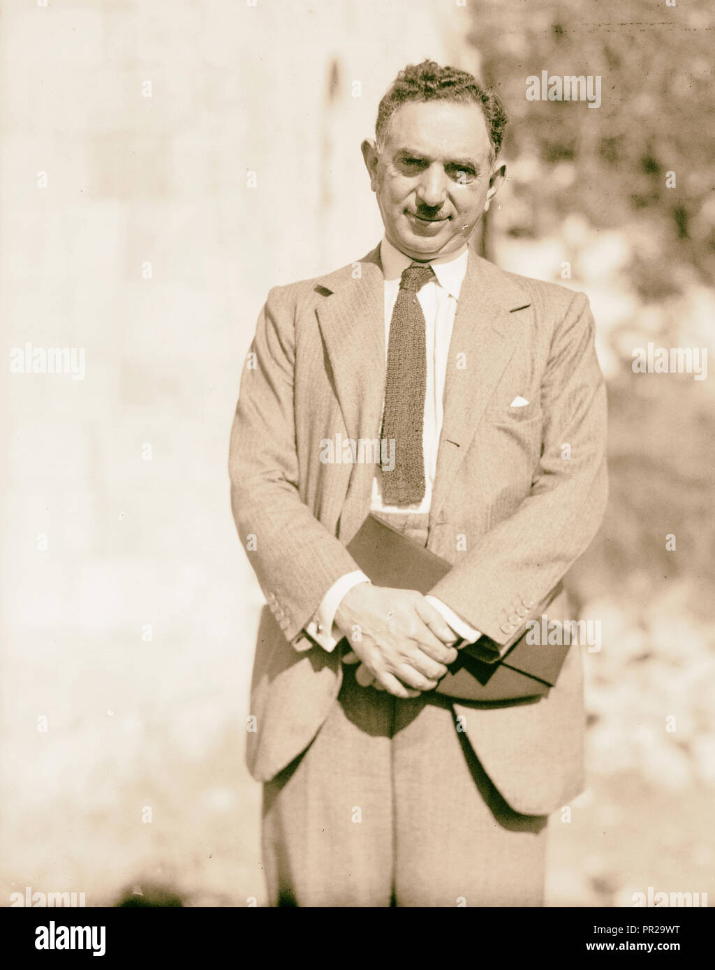 Palestine disturbances 1936. Nuri Pasha Es-Said, Foreign Minister of Iraq, arbitrator for the Palestine cause. 1936 Stock Photo