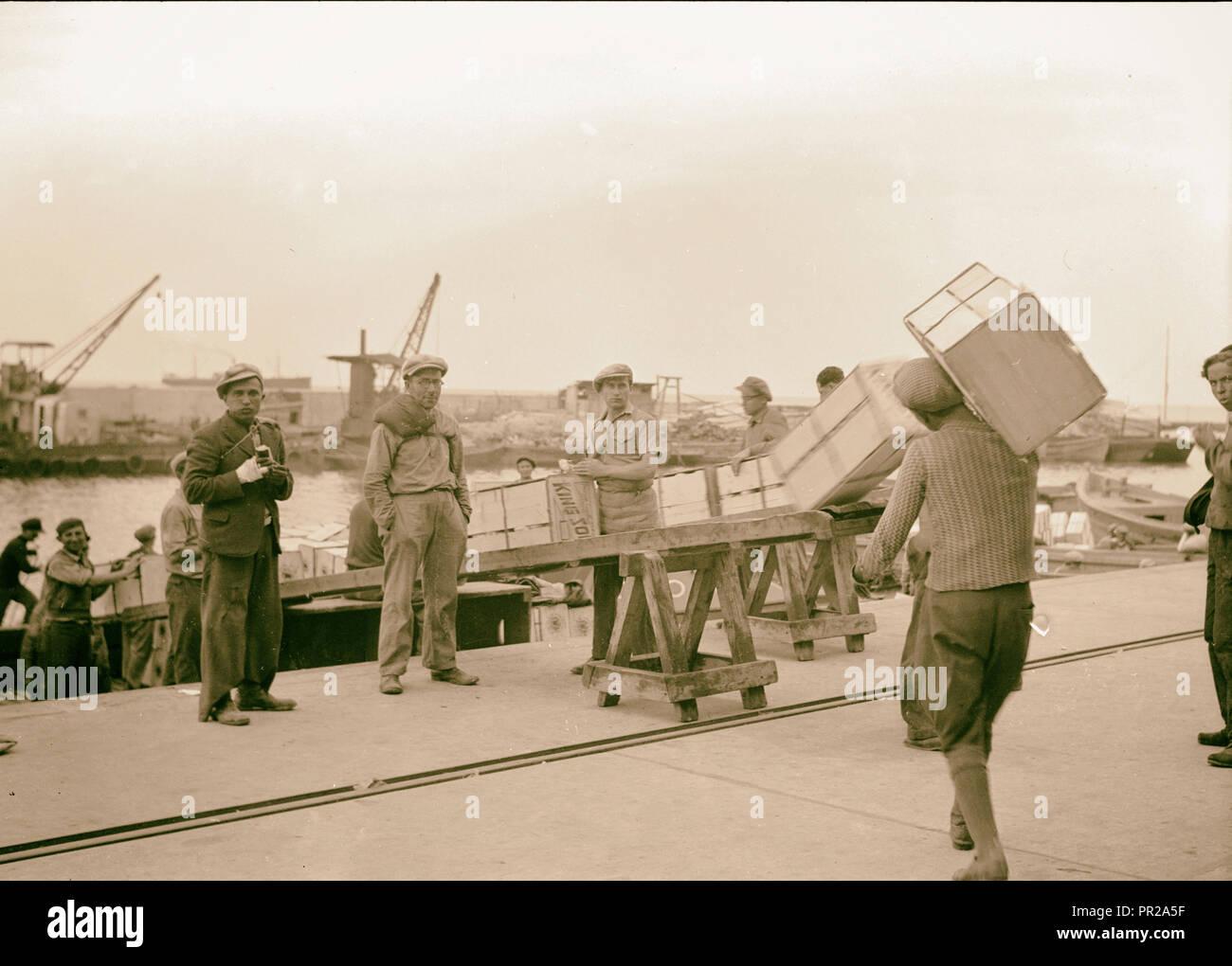 Tel Aviv Harbour. A busy scene, loading lighters with orange boxes. 1939, Israel, Tel Aviv - Stock Image